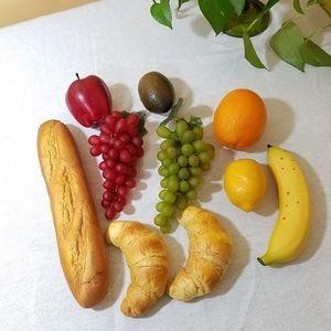Vintage Faux Fruits and Breads, 10 pcs.
